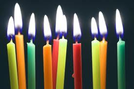 birthday candles lit